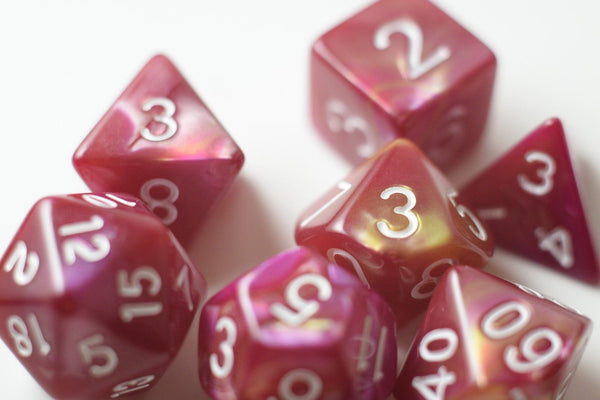 NEW Yellow and Rose Red Swirl Poly Dice Set (7) New RPG DnD w/ White Numbers