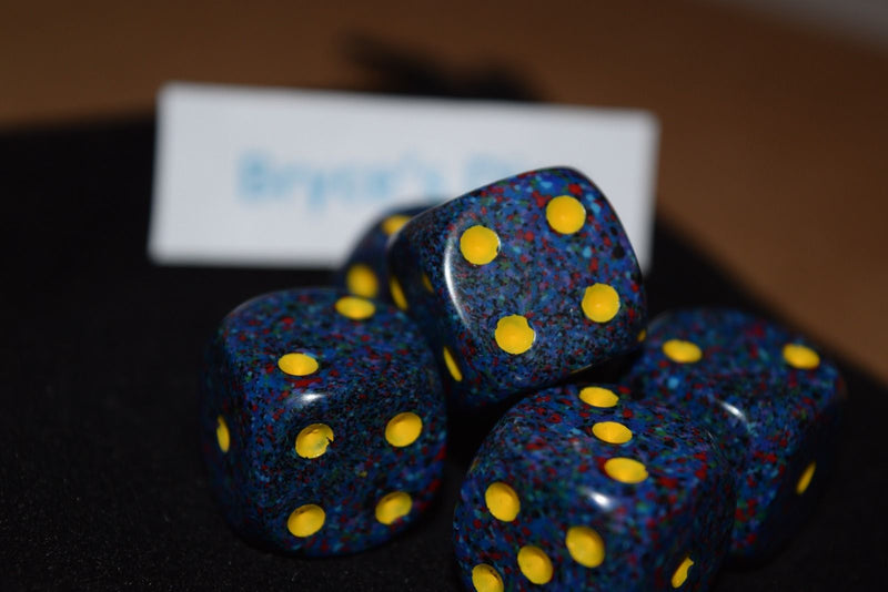 Twilight Speckled 16mm D6 RPG Chessex Dice Blue/ Yellow