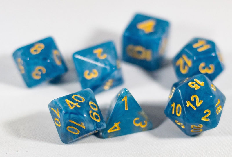 NEW Jade Blue with Yellow Numbers Poly Dice Set (7) New RPG DnD Percentage Sided