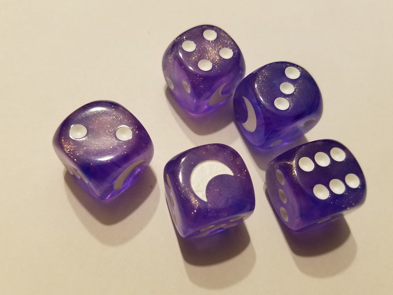 Custom Crescent Moon Sparkle Purple Borealis Chessex Magic Rare by BrycesDice