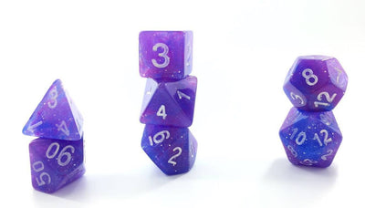 Purple Nebula Glitter Poly Dice Set (7) Semi-Translucent New RPG DnD Space Roll