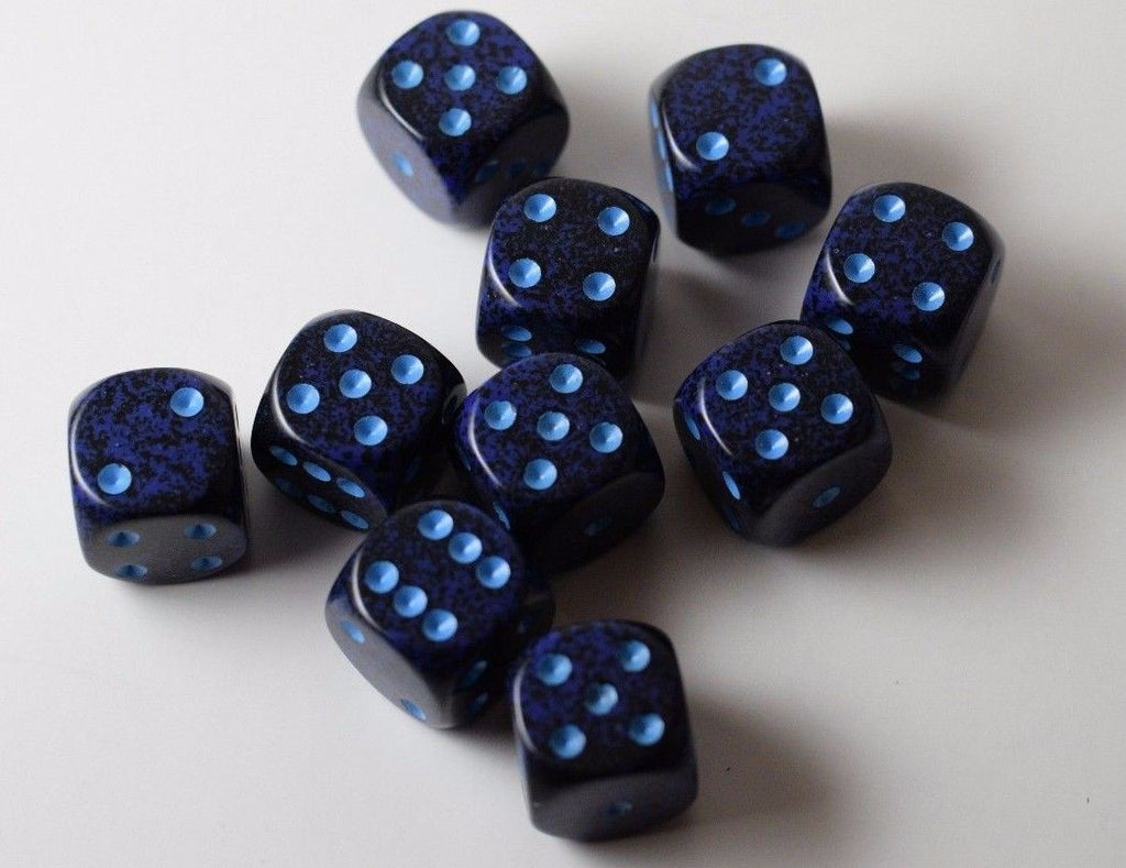 Speckled 16mm D6 RPG Chessex Dice (10 Dice) Cobalt Speckled Blue and Black