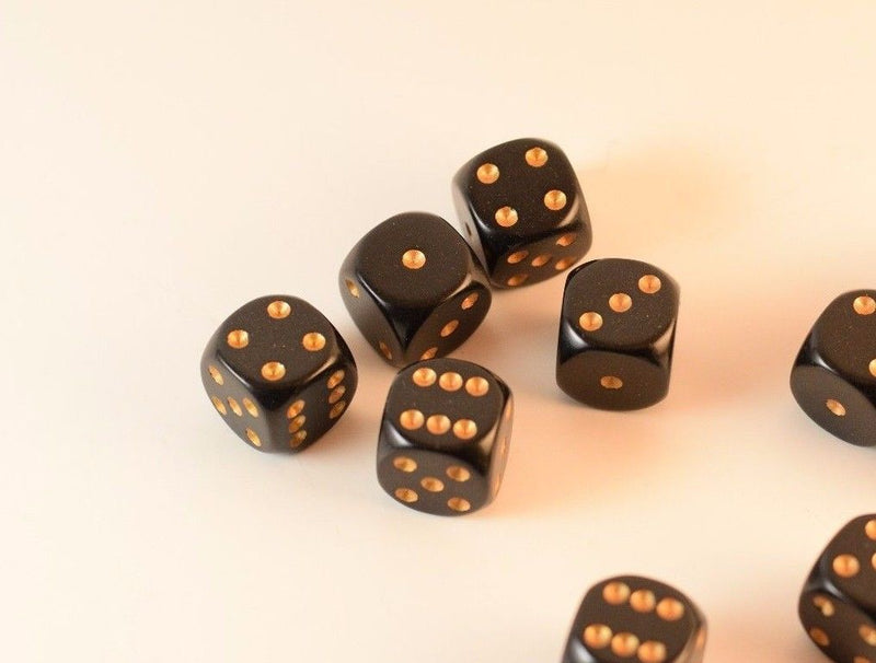 Opaque 16mm D6 RPG Chessex Dice (10 Dice) Solid Black with Gold Pips Bunco