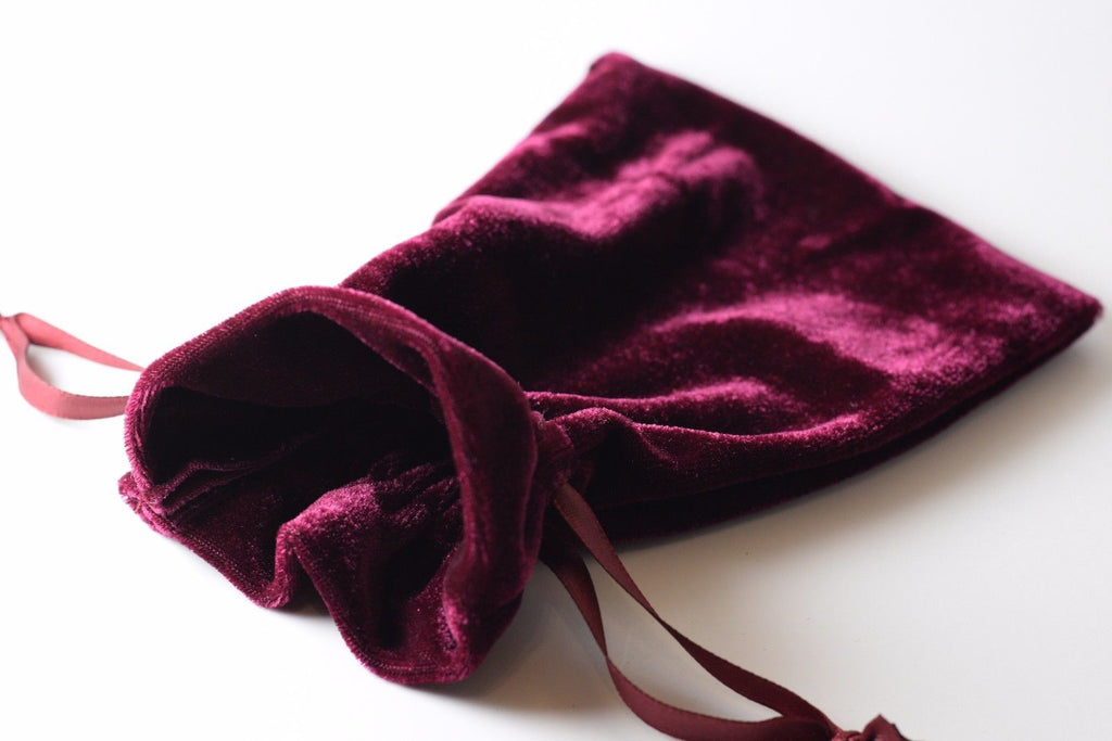 "Wine Maroon Soft Velvet 4"" x 6"" Gift Bag Cards RPG Game Dice Bag Counter Pouch"