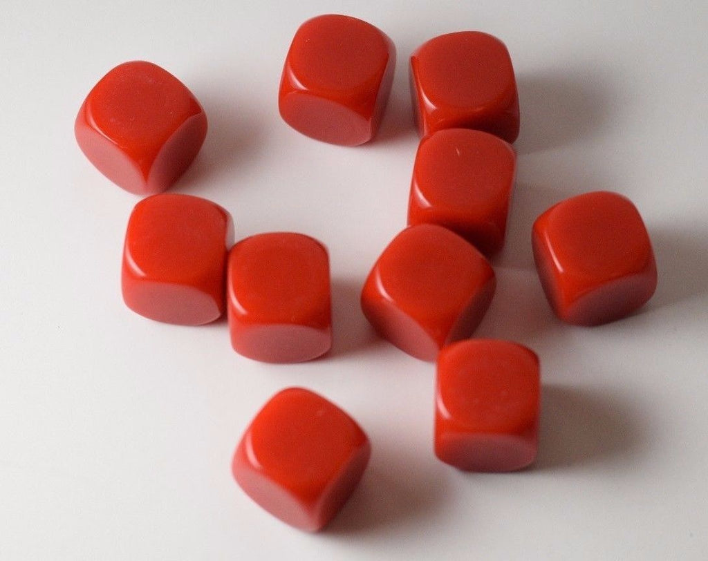 10 Pcs Blank Red Dice Counting Cubes 16mm D6 Square RPG Gaming Dice DIY