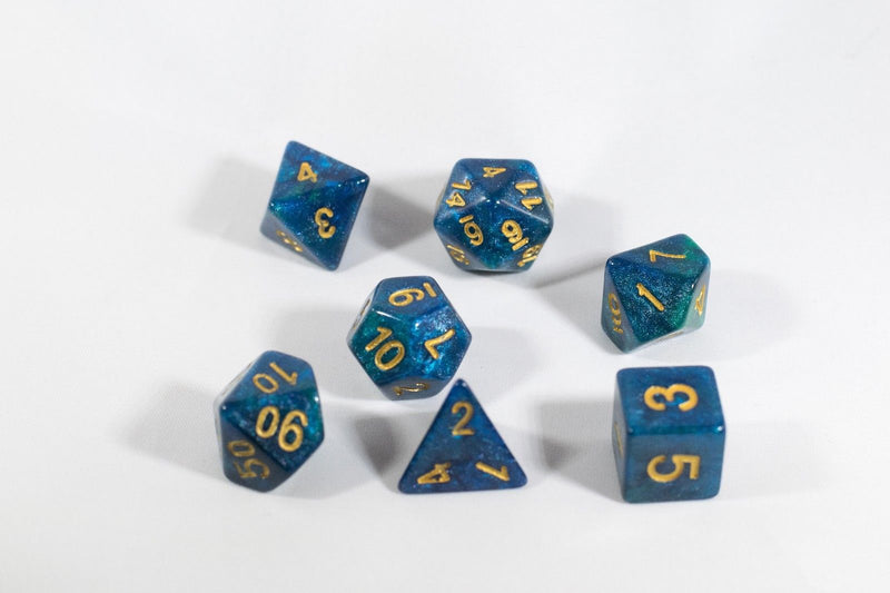 NEW Deep Sea Coral Blue with Gold Numbers Poly Dice Set (7) New RPG DnD Sided