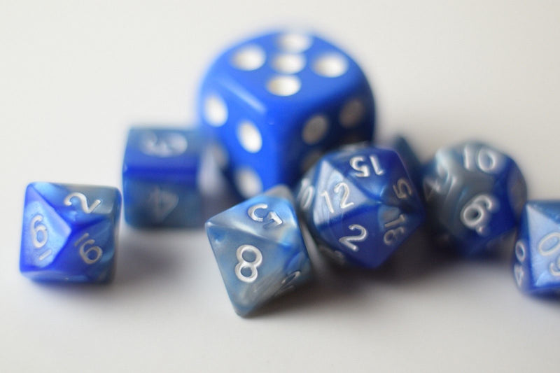 New Shiny Steel Blue Miniature Poly Dice Set Small (7) RPG DnD Mini Cute