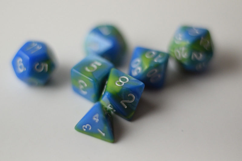 New Green Blue Miniature Poly Dice Set Blue White Small (7) RPG DnD Mini Cute