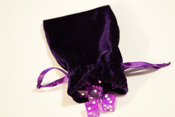 "Purple Large Soft Velvet 4"" x 6"" Gift Bag Cards RPG Game Dice Bag Counter Pouch"
