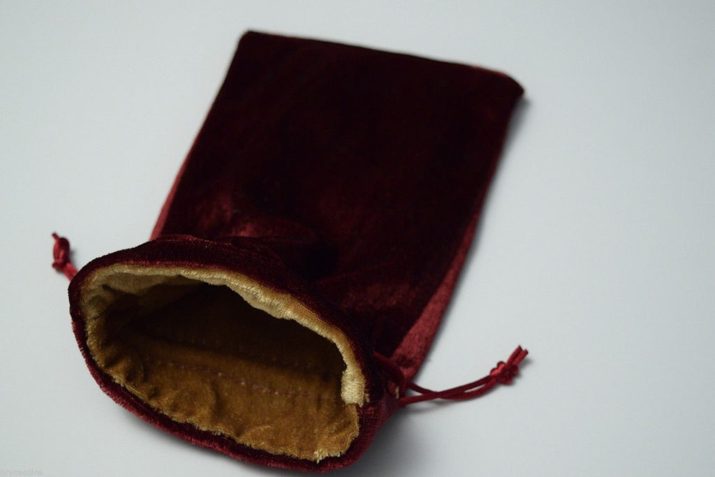 Large Maroon Velvet Gift Bag Game Dice Bag w/ GOLD Velvet Lining Counter Pouch