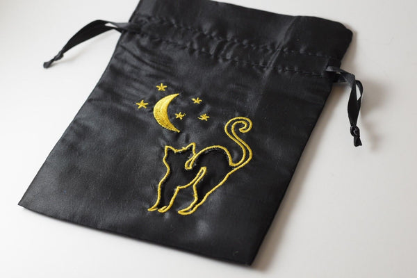Black Cat Gift Bag Large Game Dice Bag White Counter Pouch Taffeta Scary Night