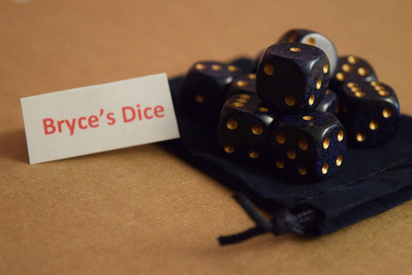 Speckled 16mm D6 RPG Chessex Dice (10 Dice) - Golden Cobalt - Purple and Black