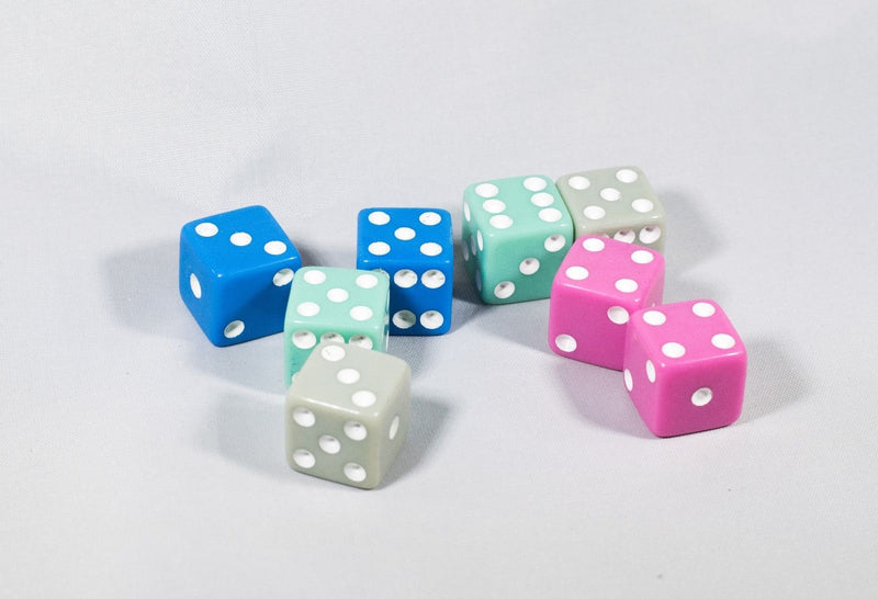New (8) Pastel Dice Pink Teal Blue w/ White Bunco Gaming Dice 16mm D6 Yahtzee