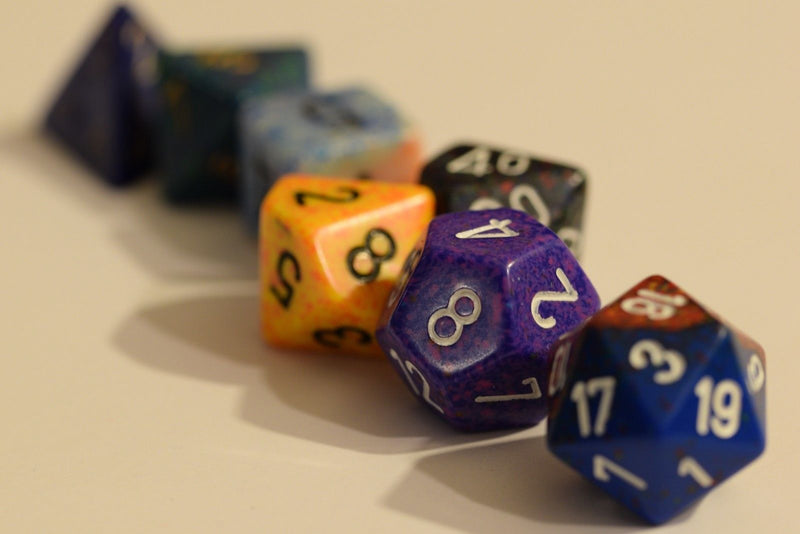 Random set of 7 Gaming Dice Chessex d4, d6, d8,d10, d12, d20 Rare Dungeons&Drago