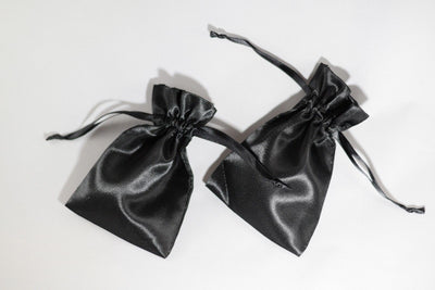 2 Pack of Large Black Satin Gift Bag Game Dice Bag Counter Pouch 4