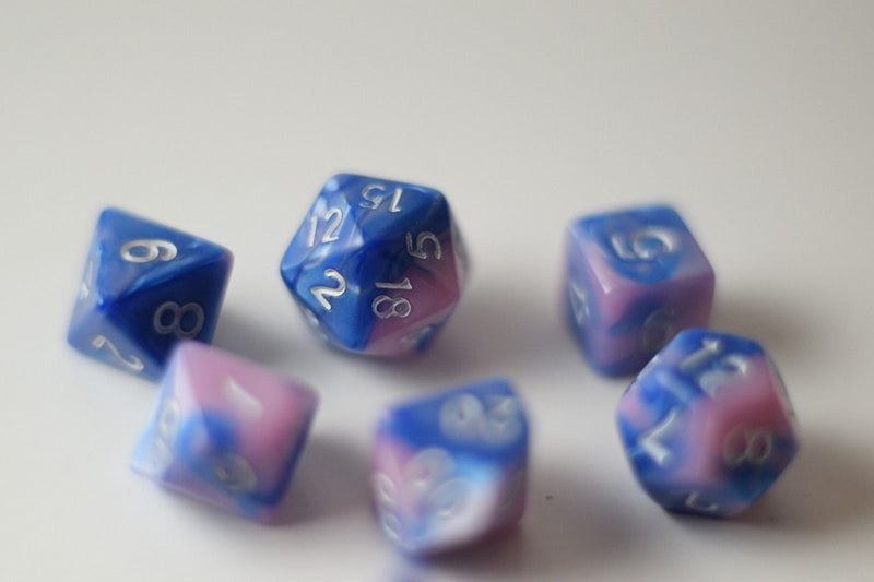 New Shiny Pink Blue Miniature Poly Dice Set Small (7) RPG DnD Mini Cute