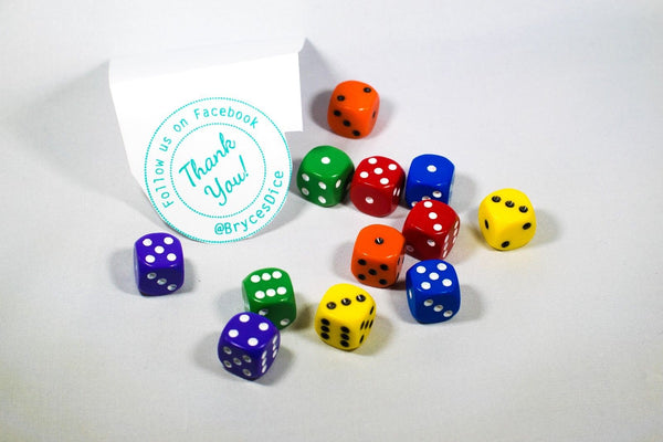 New Dice 12mm 6-sided Red Orange Yellow Green Blue Purple Small Rainbow 12 Dice