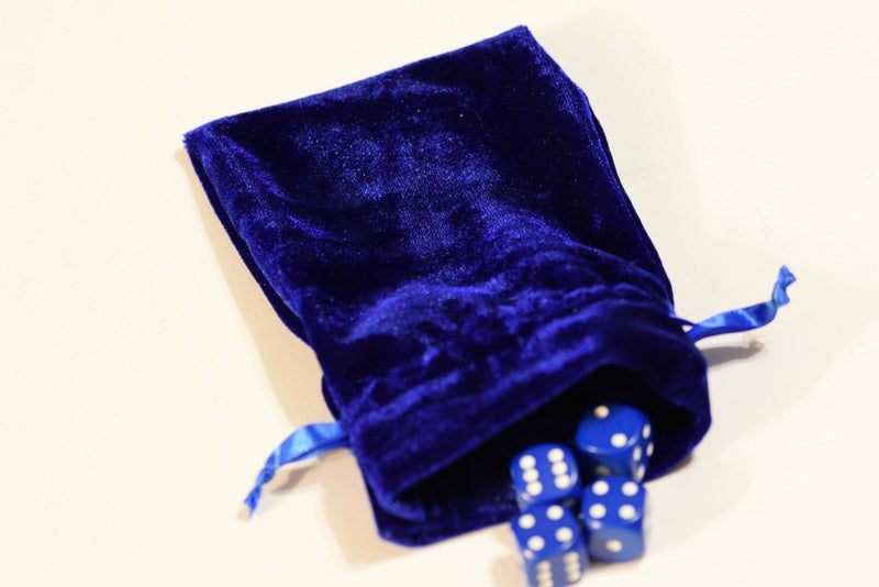 "Blue Large Soft Velvet 4"" x 6"" Gift Bag Cards RPG Game Dice Bag Counter Pouch"