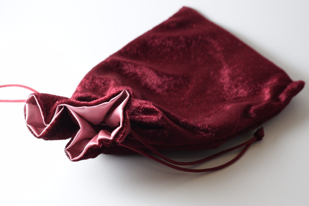 Large Maroon Velvet Gift Big Game Dice Bag w/ Pink Satin Lining Counter Pouch