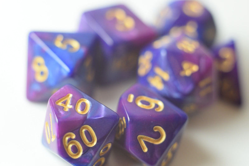 NEW Royal Purple & Blue Regal Swirl Poly Dice Set (7) RPG DnD w/ Gold Numbers