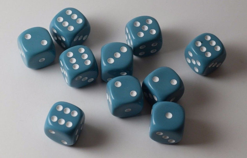 Rare Unreleased 16mm Cyan Blue Dice Set (10) Chessex with White Pips Limited