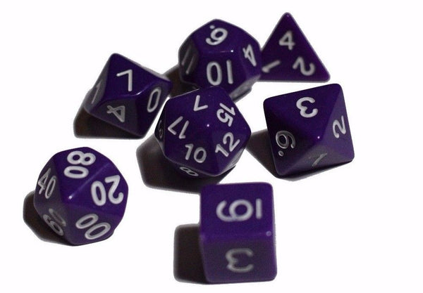 Purple Opaque 7 Die Set Polyhedral Dice by BrycesDice RPG Magic D&D Unique