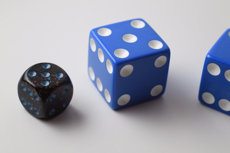 NEW 2 Jumbo 25mm 1 inch Blue Dice Pair RPG Board Game D6 Koplow Large Huge Dice