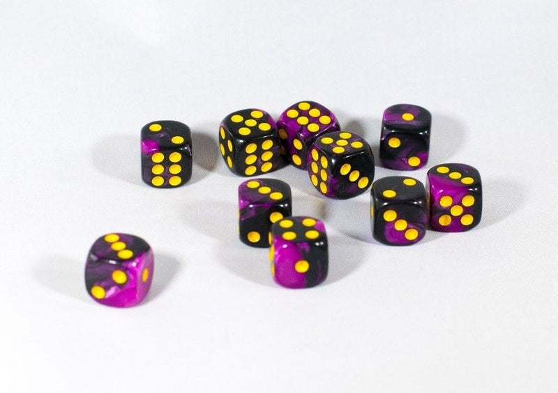 New Royal Purple and Black Dice with Yellow Pips 12mm D6 RPG Dice (10) Yahtzee