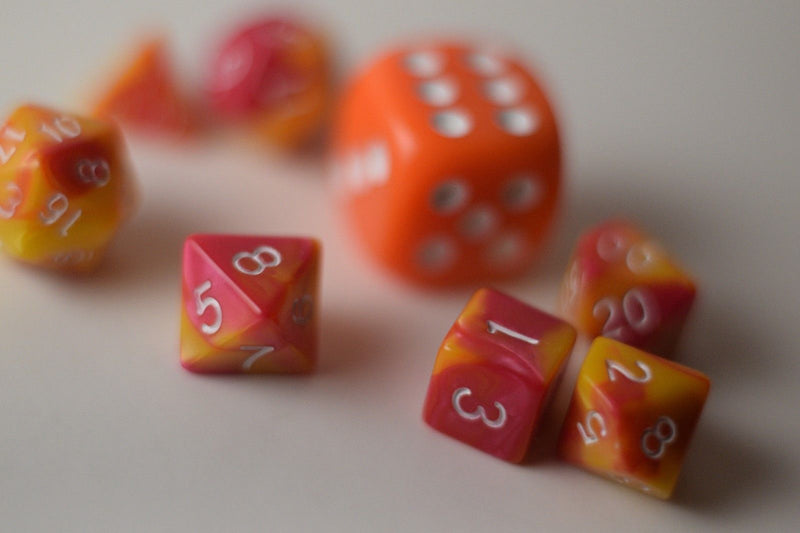 New Shiny Yellow Pink Miniature Poly Dice Set Small (7) RPG DnD Mini Cute