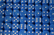 Water Speckled 16mm D6 RPG Chessex Dice (10 Dice) Water Dark Blue and White