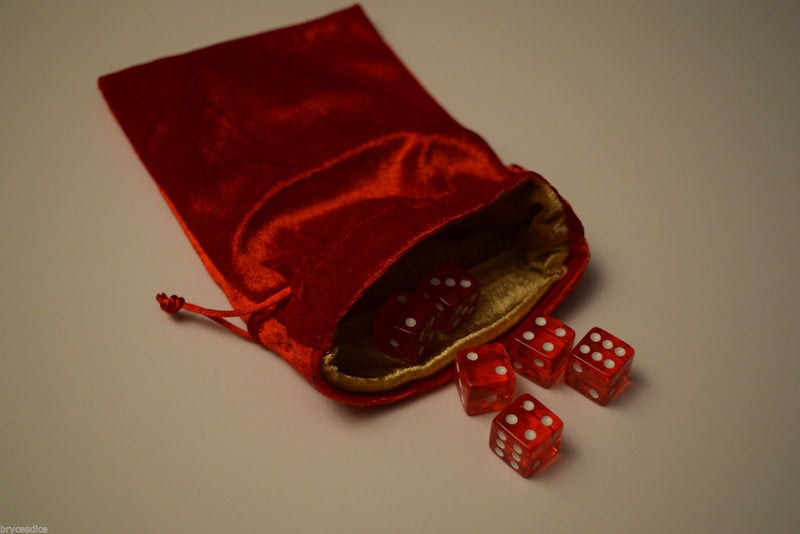 Large Red Velvet Gift Bag RPG Game Dice Bag w/ GOLD Velvet Lining Counter Pouch