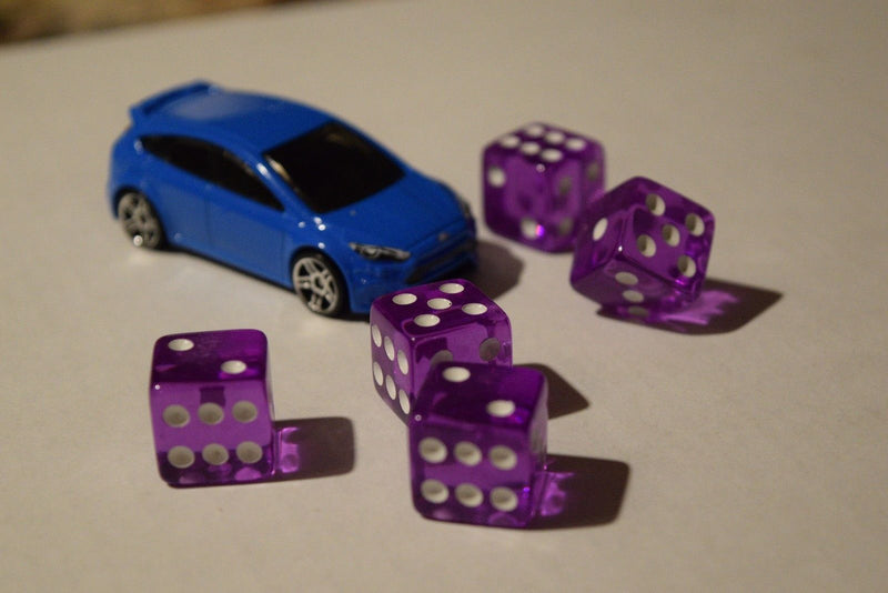 NEW Set of Purple Transparent 16mm Dice 5 Purple D6 RPG Bunco Home CASINO Games