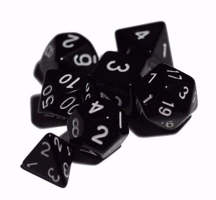 Black Opaque 7 Die Set Polyhedral Dice by BrycesDice RPG Magic D&D Unique