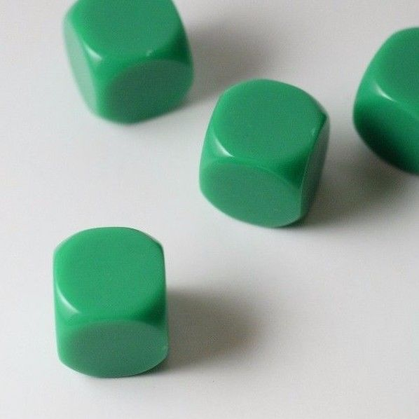 10 Pcs Blank Green Dice / Counting Cubes 16mm D6 Square RPG Gaming Dice DIY