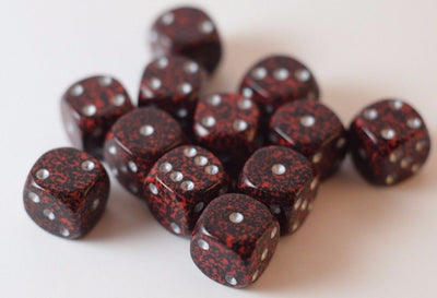 Speckled 12mm D6 RPG Chessex Dice (12 Dice) Silver Volcano Speckled Black & Red