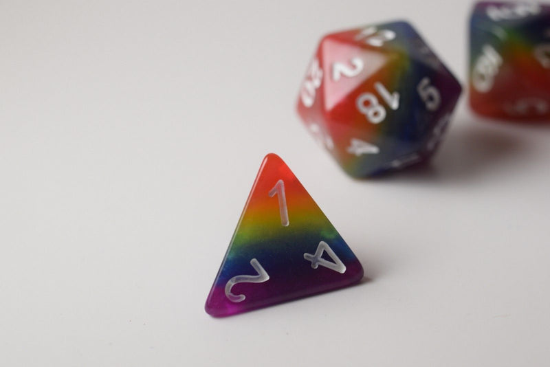New Rainbow Aurora Poly Dice Set Blue Green Yellow Orange Red Purple (7) RPG DnD