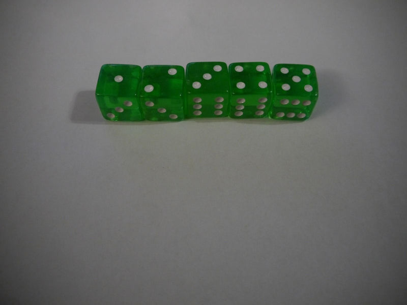 NEW Set of 5 Green Transparent Large Casino Size 19mm Dice Green Great Quality