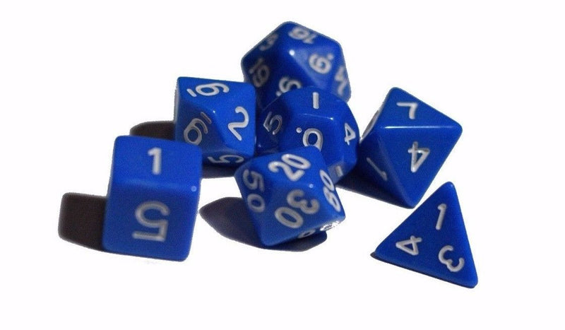 Blue Opaque 7 Die Set Polyhedral Dice by BrycesDice RPG Magic D&D Unique Roll
