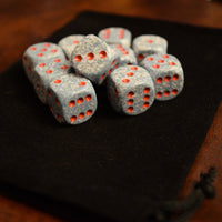 Speckled 16mm D6 RPG Chessex Dice (10 Dice) Air Speckled Grey & White w/Red Pips