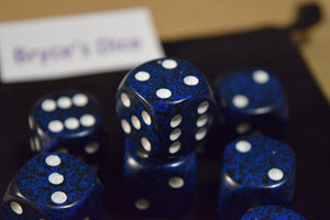 Speckled 16mm D6 RPG Chessex Dice (10 Dice) - Stealth - Speckled Blue and Black
