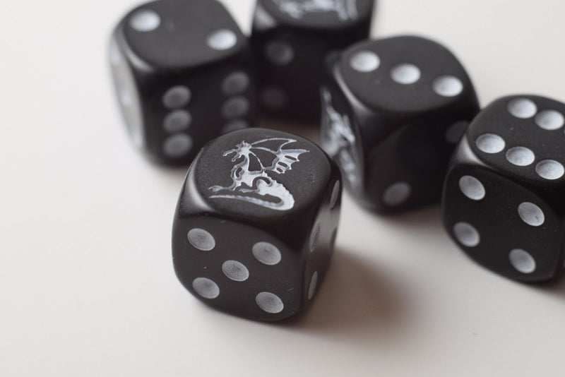 NEW Set of 5 Dragon Black  Dice D&D RPG Game 16mm Six Sided D6 Koplow Free Ship