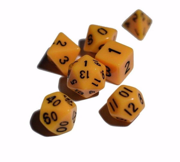 Yellow Opaque 7 Die Set Polyhedral Dice by BrycesDice RPG Magic D&D Unique