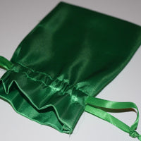 "Large Green Satin Gift Bag Game Dice Bag  Counter Pouch 4"" x 6"" New Soft Gifts"