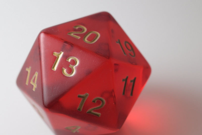 NEW 55mm Transparent Ruby Red Giant Jumbo Large D20 Life Counter Dice MTG RPG
