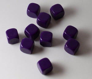 10 Pcs Blank Purple Dice / Counting Cubes 16mm D6 Square RPG Gaming Dice DIY