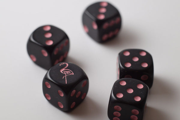 NEW  Black Dice with Pink Flamingo Dice Set 6 Sided Bunco RPG Game D6 16mm Roll
