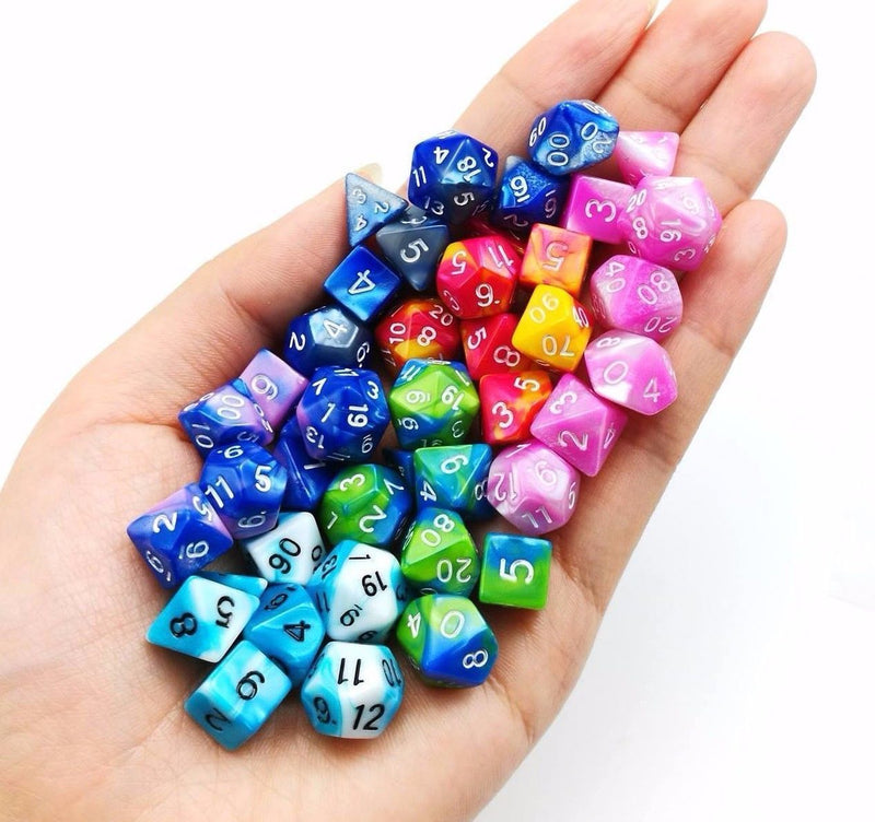 New Ice Blue Miniature Poly Dice Set Blue White Small (7) RPG DnD Mini Cute
