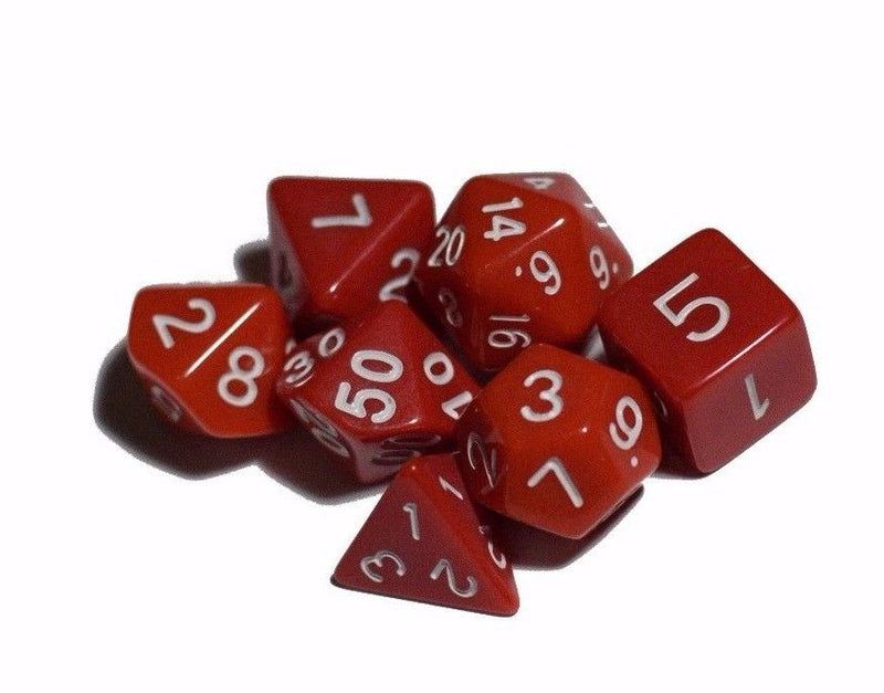 Red Opaque 7 Die Set Polyhedral Dice by BrycesDice RPG Magic D&D Unique Fun
