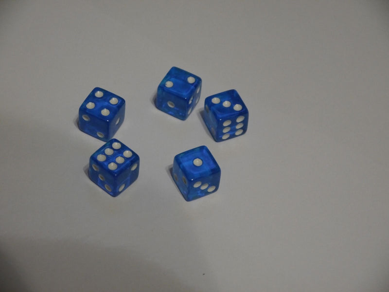 NEW 5 Transparent Blue White Pip RPG Bunco Gaming Dice Set 16mm D6 Home Casino