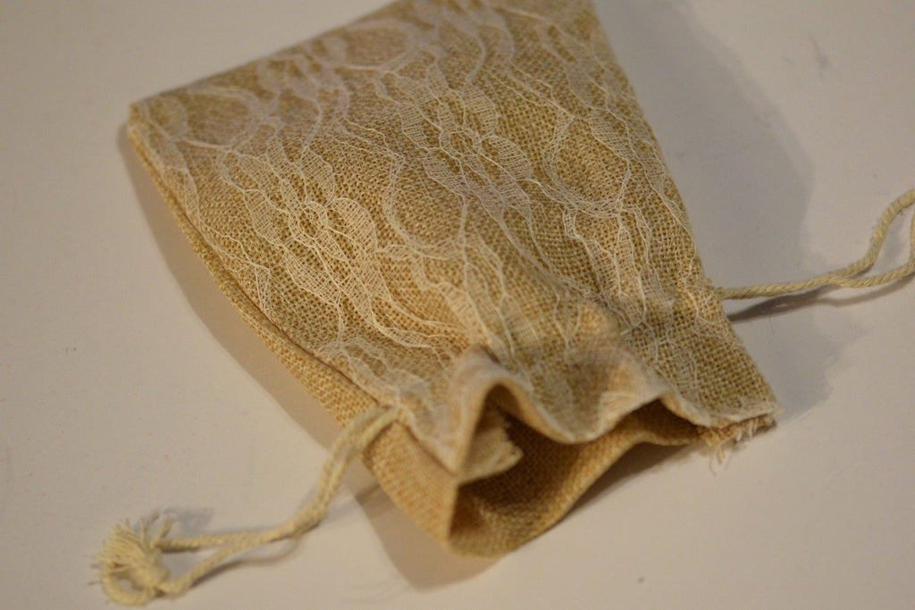 "Burlap w/ Ivory Lace Gift Bag Cards RPG Game Dice Bag Counter Pouch 5"" x 6.5"""